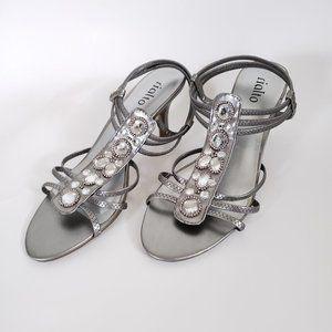 Rialto silver jeweled strappy heels, 8.5M